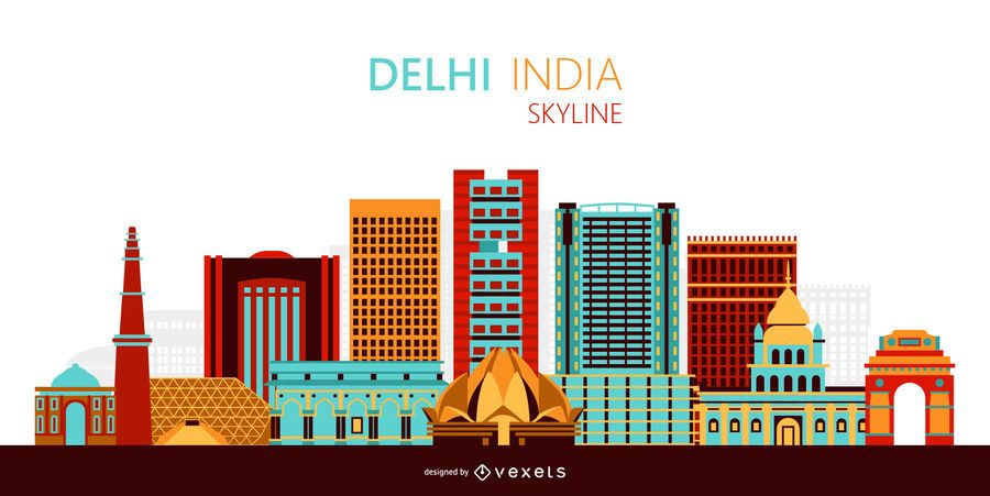 Delhi skyline illustration