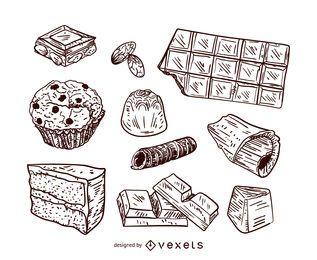 Chocolate desserts illustration set
