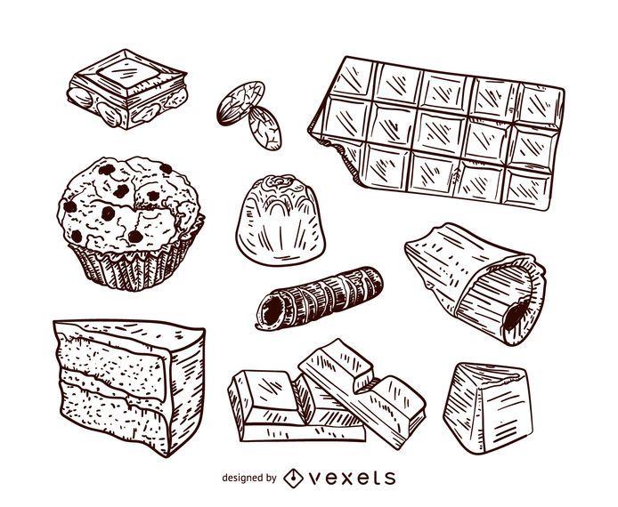 Conjunto de ilustração de sobremesas de chocolate