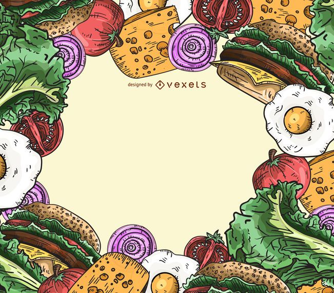 Burger ingredients frame background