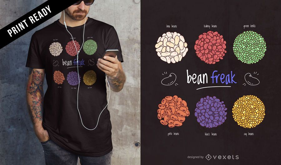Diseño de camiseta Bean Freak