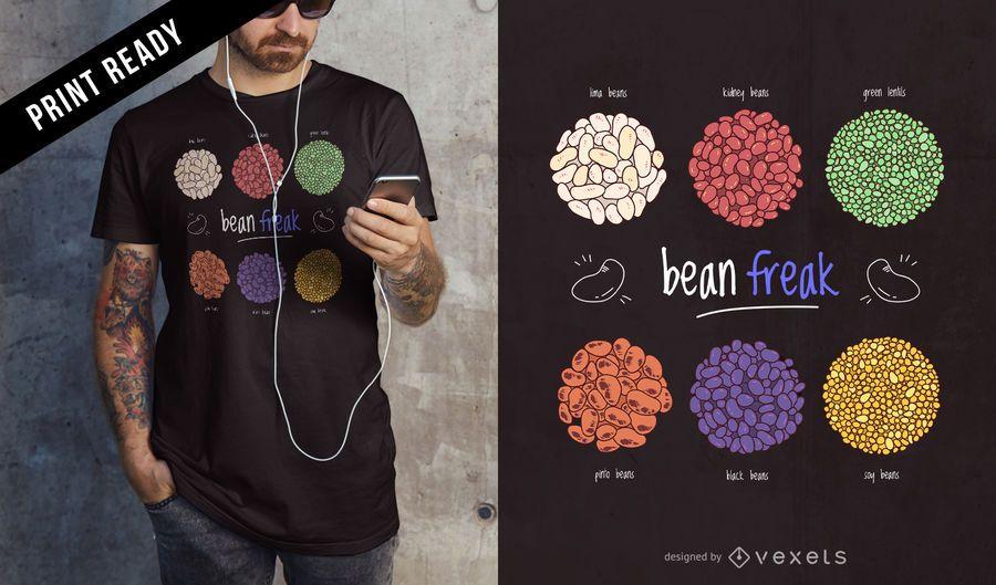 Projeto do t-shirt do anormal do feijão
