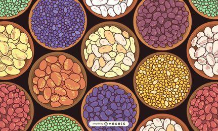 Tigelas de feijão ilustração