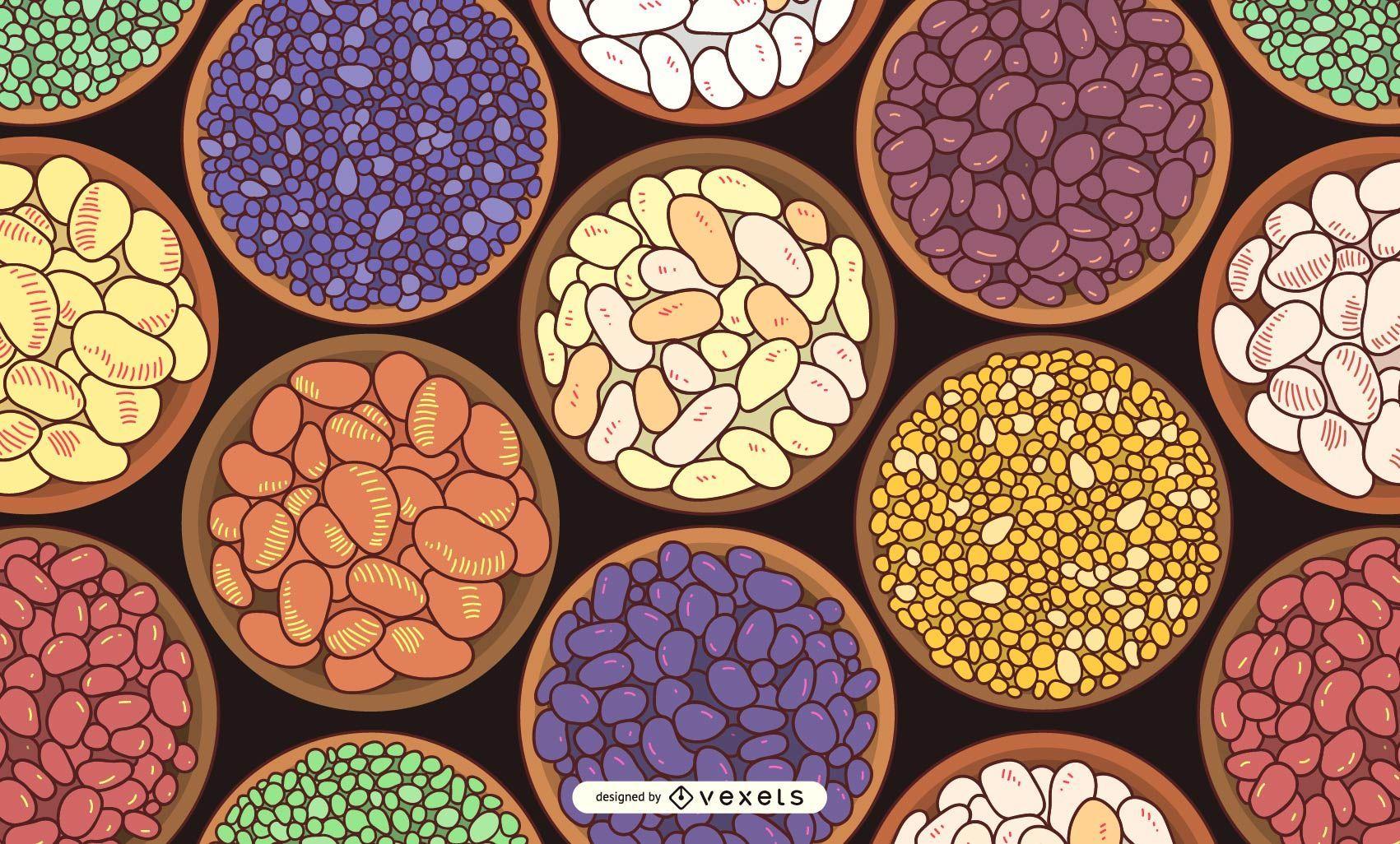 Ilustração de tigelas de feijão