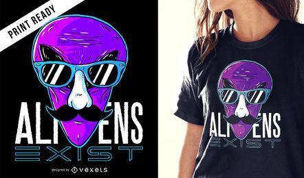 Diseño de camiseta alienígena