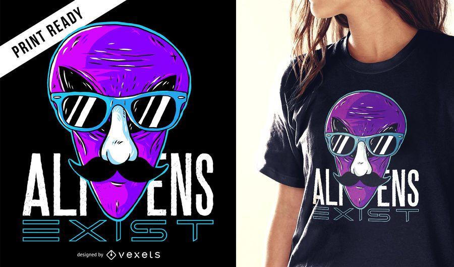 Aliens existem design de t-shirt