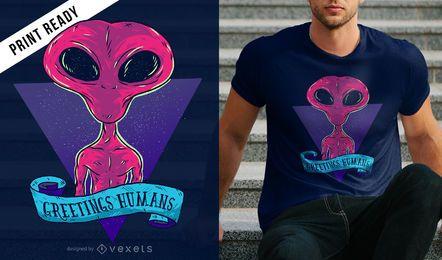 Diseño de camiseta saludos humanos.