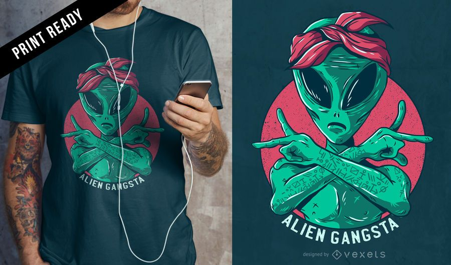 Alien gangsta t-shirt design