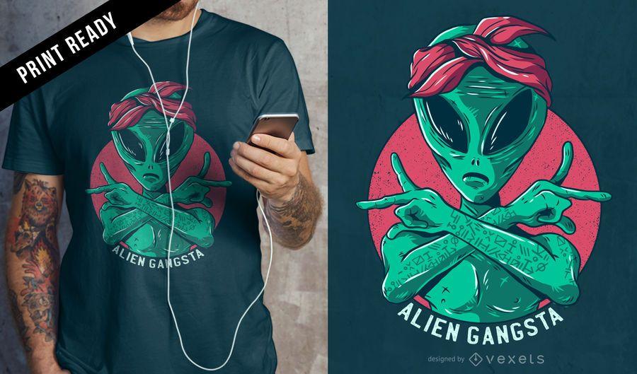Diseño de camiseta alienígena gangsta.