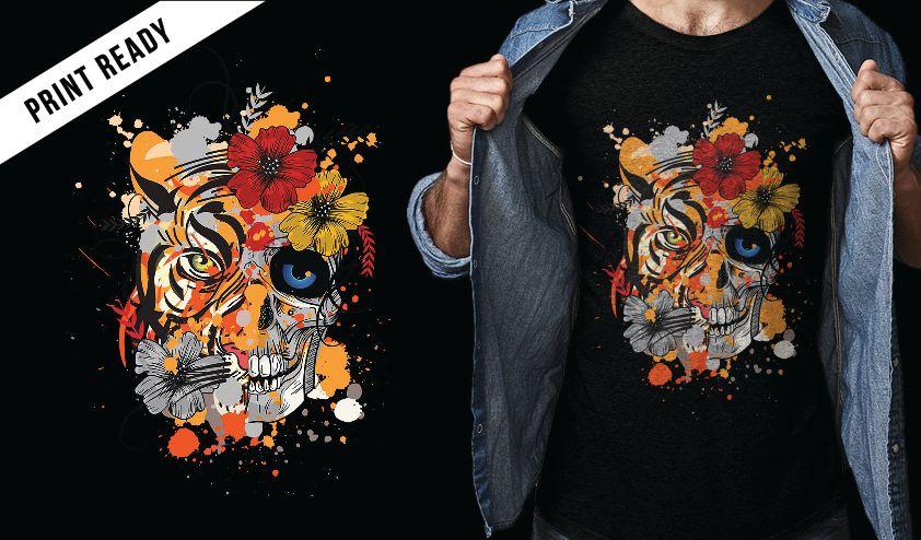 Diseño de camiseta tigre y calavera.