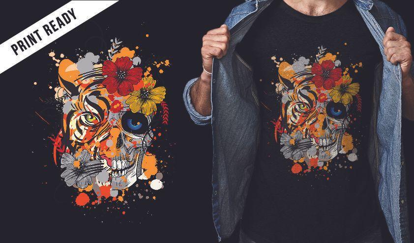 Diseño de camiseta de tigre y calavera.