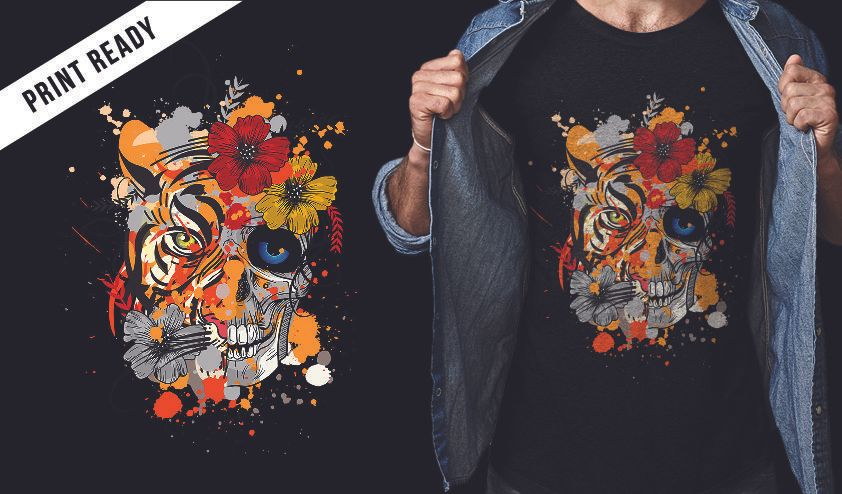 Tiger and skull t-shirt design