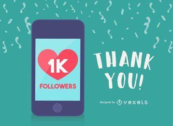 1k seguidores publicación en redes sociales
