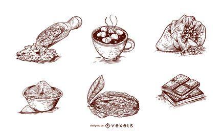Conjunto de productos de cacao.