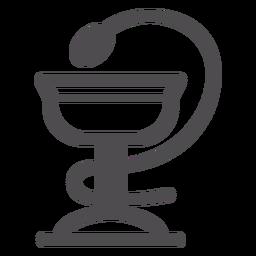 Schüssel mit Hygieia-Strich-Symbol