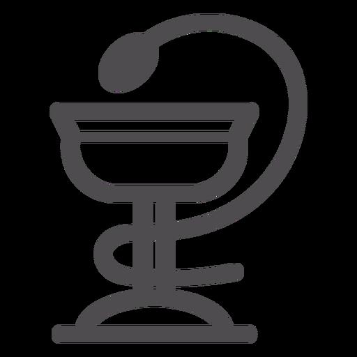 Schüssel mit Hygieia-Strich-Symbol Transparent PNG