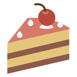 Cherry cake slice flat icon