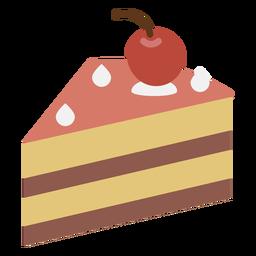 Icono plano de la rebanada de pastel de cereza