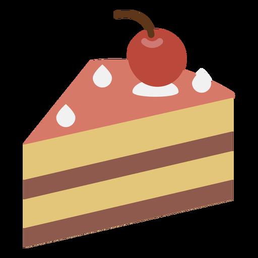 Icono plano de la rebanada de pastel de cereza Transparent PNG
