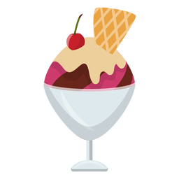 Cherry sundae flat icon