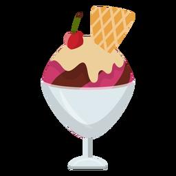 Icono plano de helado de cereza