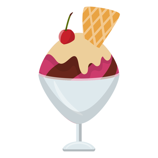 Cherry sundae flat icon Transparent PNG