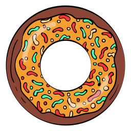 Chocolate caramel doughnut cartoon
