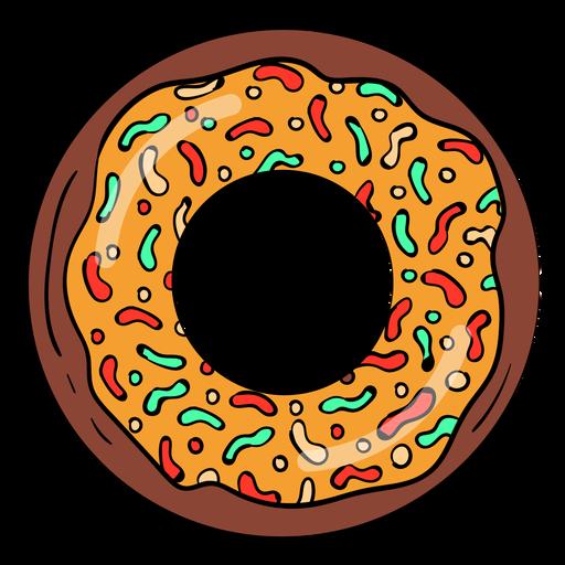 Chocolate caramel doughnut cartoon Transparent PNG