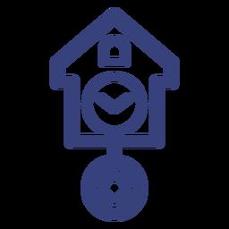 Icono de trazo de reloj de cuco