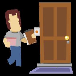 Hombre de entrega en la puerta