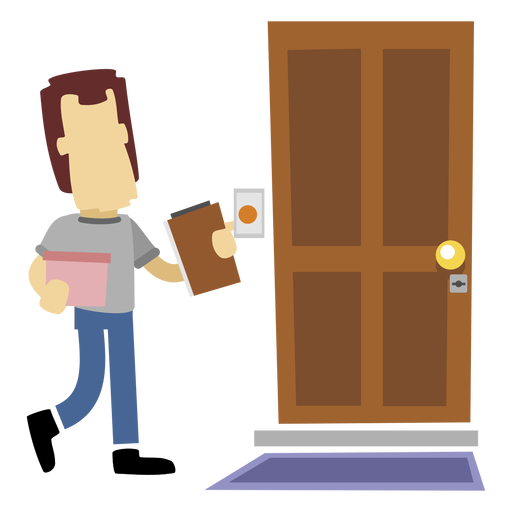 Delivery man at door Transparent PNG