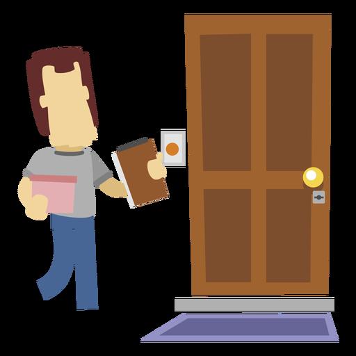 Repartidor en la puerta