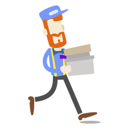 Delivery man carrying boxes