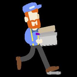 Homem entrega, caixas levando