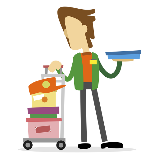 Delivery man holding box Transparent PNG