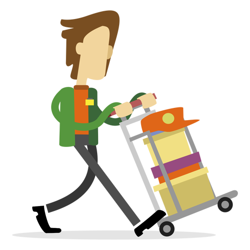 Delivery man pushing cart Transparent PNG