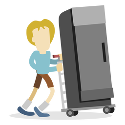 Hombre de entrega empujando el refrigerador