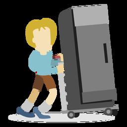 Repartidor empujando refrigerador