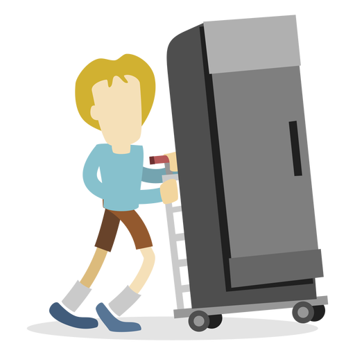 Delivery man pushing refrigerator Transparent PNG