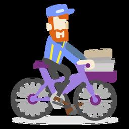Hombre de entrega montando bicicleta