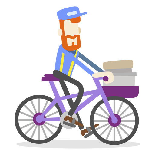 Delivery man riding bike Transparent PNG