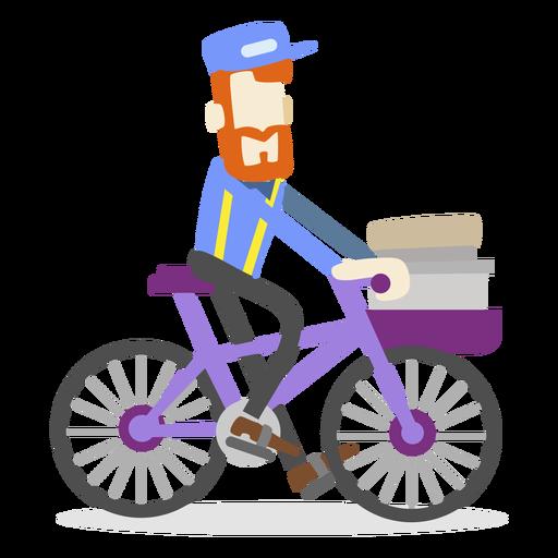 Hombre de entrega montando bicicleta Transparent PNG