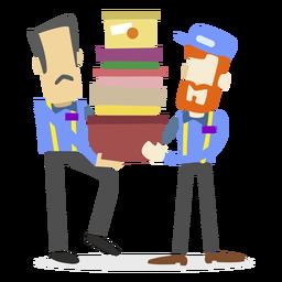 Homens entrega, caixas levando