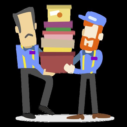 Repartidores llevando cajas