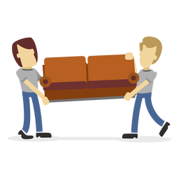 Delivery men carrying sofa