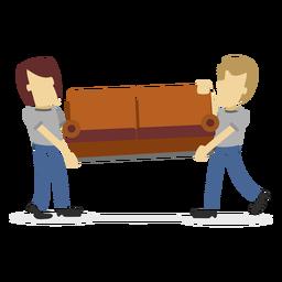 Hombres de entrega con sofá