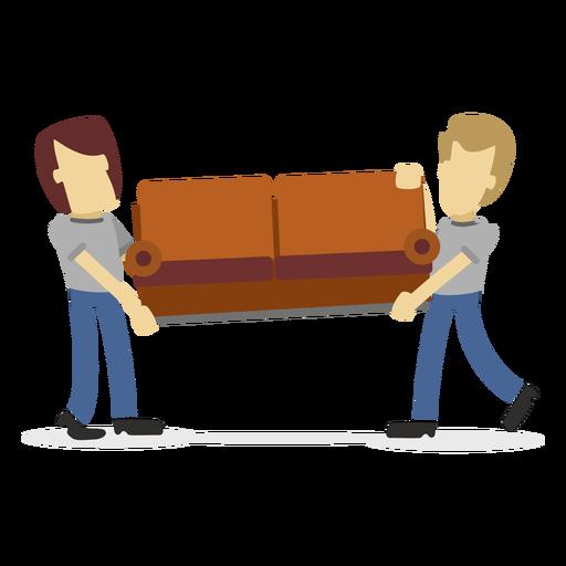 Repartidores llevando sofá