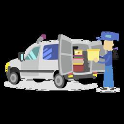 Mujer de entrega cargando camión