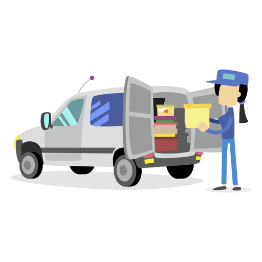 Delivery woman loading truck Transparent PNG