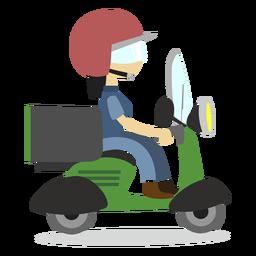 Scooter de equitação de mulher entrega